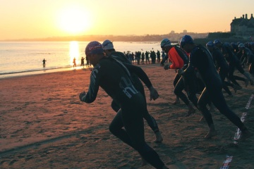 silhouette, triatlon, sport, athlete, crowd, sunset, water, beach, man, competition