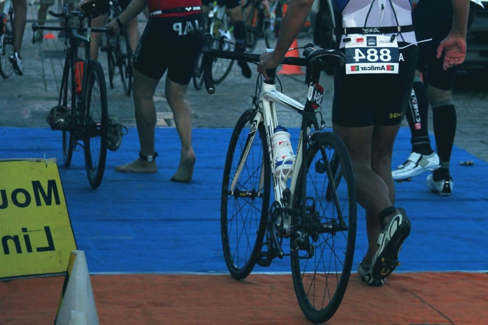 Triatlon, sport, concorrenza, persone, veicolo, ruota, bicicletta