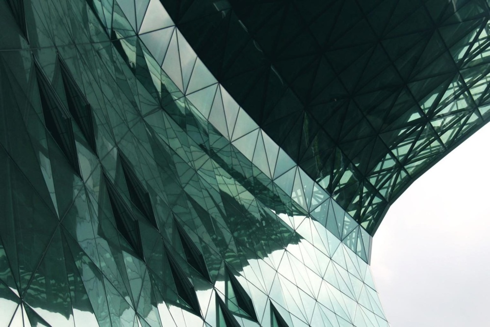 Exteriér, budovy, moderní architekturu, geometrické, moderní