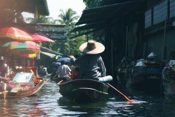 хора, вода, тълпата, Азия, лодка, пазар