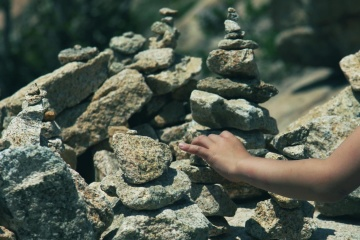 stone, nature, person, hand, material, landscape, rocks