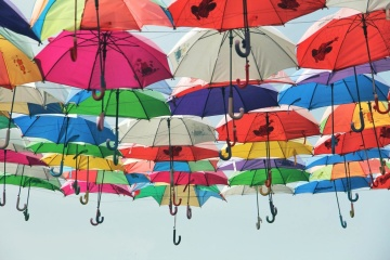 umbrella, colorful, decoration, object