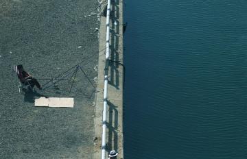 voda, pobrežie, muž, Rybolov, rekreáciu, Vonkajší