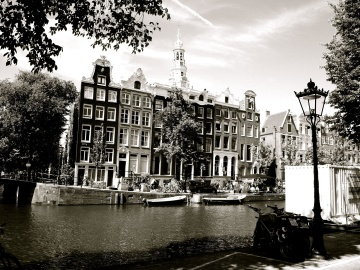 monochrome, architecture, boat, ship, canal, town