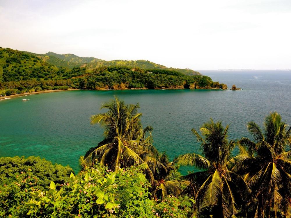 zaljev, vode, otok, more, obalu, plaža, more, krajolik, obale, nebo