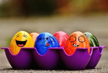 Pascua, vacaciones, decoración, huevo, colorido, divertido