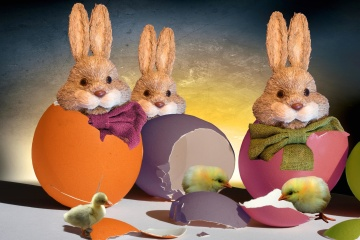 Easter, rabbit, bunny, egg, photomontage