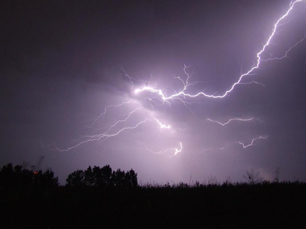 Tramonto, tempesta, paesaggio, alba, sole, cielo, temporali, tuoni