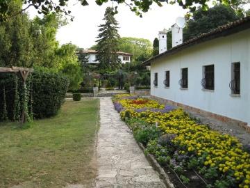 Patio, exterior, jardín, flor, casa, arquitectura