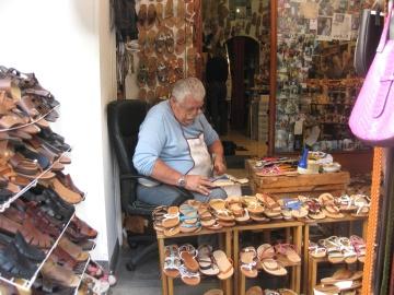 shoemaker, man, work, shoe, shop, street, craft, people, market, shopkeeper