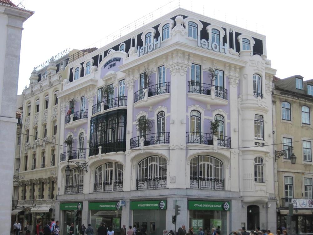 architecture, city, downtown, street, exterior, building, facade, balcony, landmark