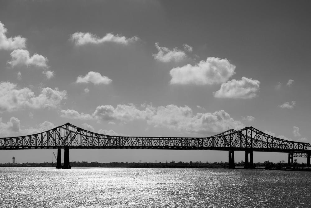 bridge, water, monochrome, pier, support
