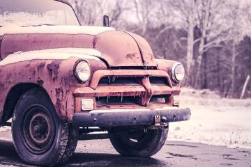 Vehículo, coche, viejo, moho, faro, neumático