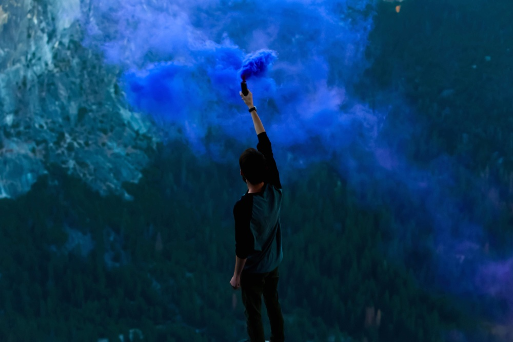 rekreaciju, dim, plava, akcija, čovjek, tamne