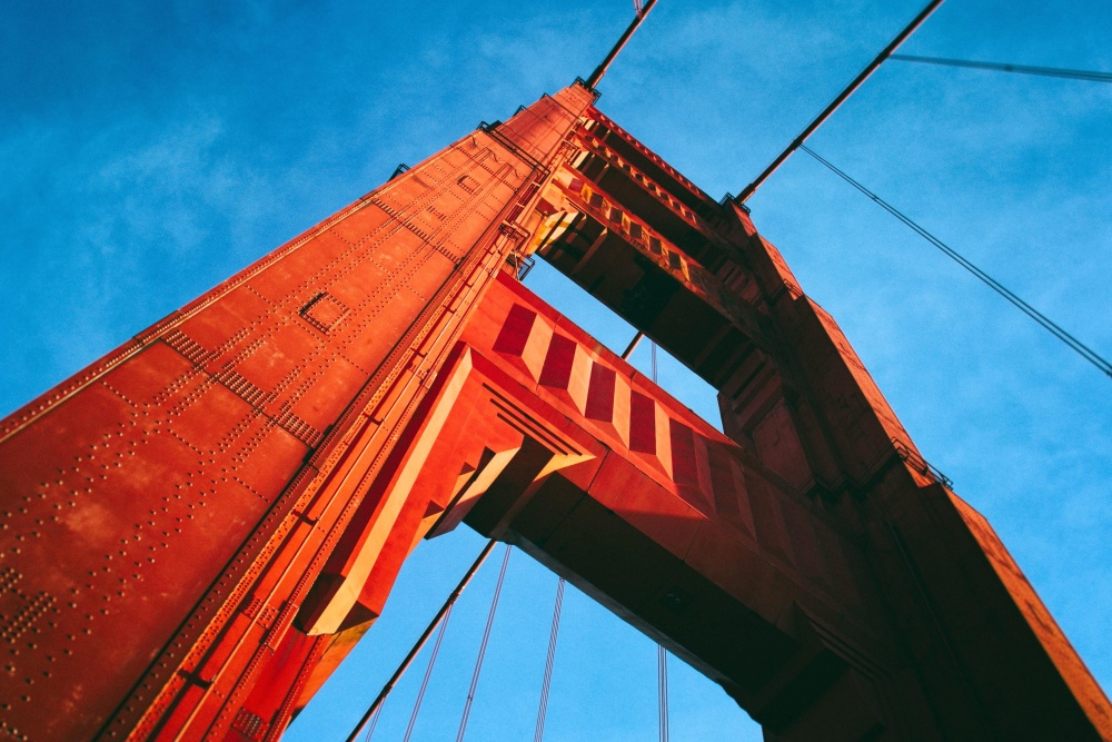 sky, architecture, bridge, city, urban, steel, high, construction, modern, downtown