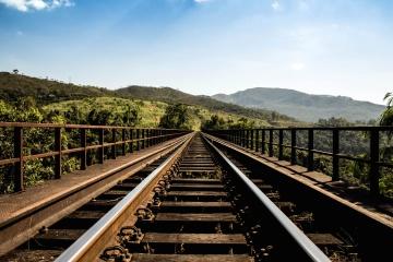 kolejowe, drogi, most, niebo, natura, żelaza, budowy