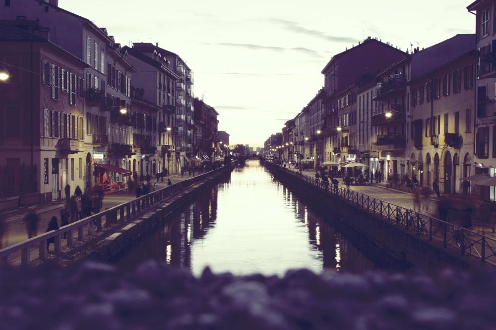 város, utca, építészet, folyó, alkonyat, downtown, híd