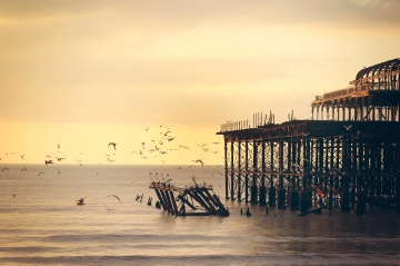 sunset, water, beach, dawn, sea, ocean, pier