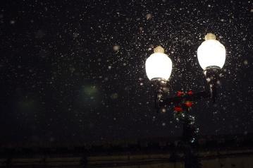 Lampada, notte, neve, fiocco di neve