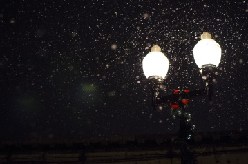 Lámpara, noche, nieve, copo de nieve