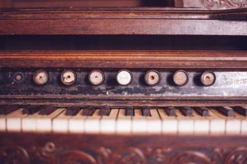 régi retro, antik, klasszikus, zongora, hangszer, zene, fa, zongora, hang