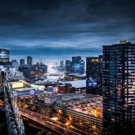 Ville, centre-ville, trafic, crépuscule, paysage urbain, route, architecture, voiture