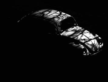 Coche, oldtimer, sombra, vehículo, negro