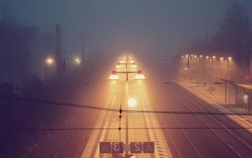 Coucher de soleil, lumière, ville, aube, asphalte, nuit