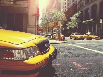auto, voertuig, weg, straat, taxi, centrum, asfalt, geel