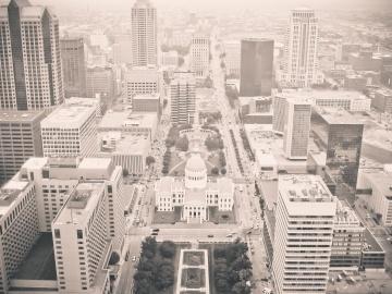 Ville, architecture, paysage urbain, centre-ville, urbain, monochrome