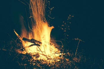 flame, fire, campfire, night, darkness, spark