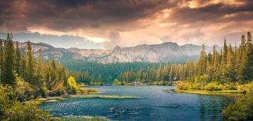 trä, flod, vatten, natur, landskap, berg, sky, moln, nationalpark