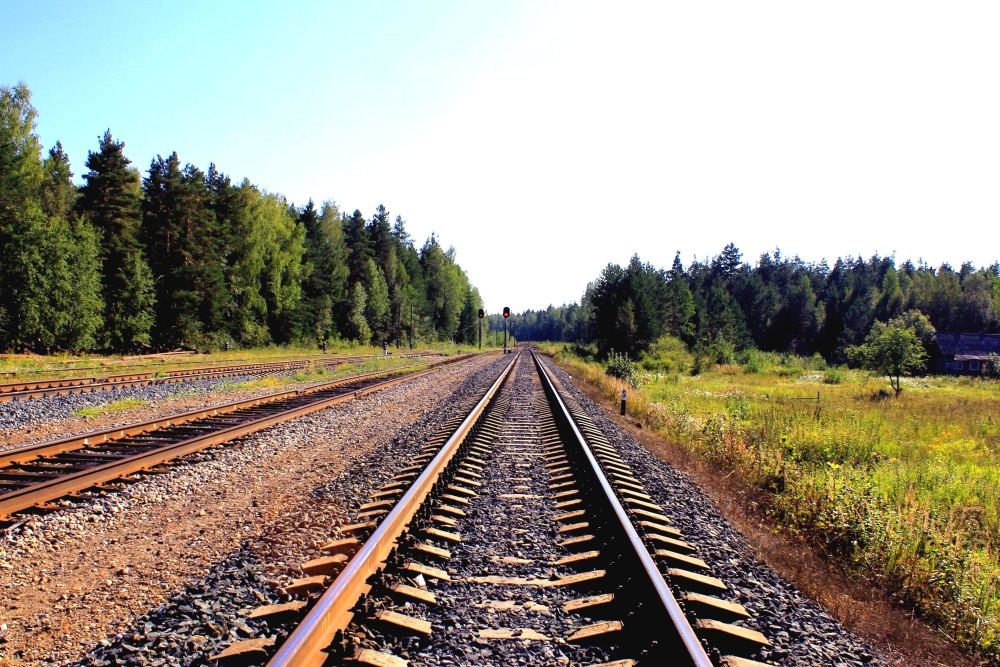 railway, landscape, iron, road