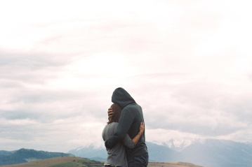 ljudi, krajolika, neba, brdo, dečka, djevojku