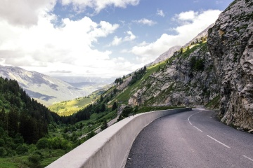mountain, landscape, road, nature, sky, asphalt, valley