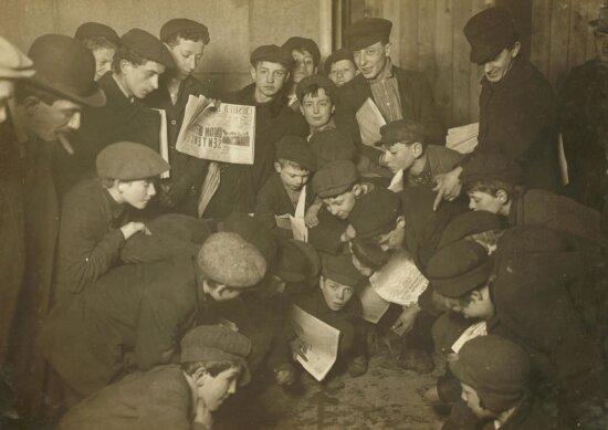 people, newspaper, work, child, history, monochrome, crowd, portrait