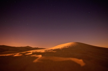desert, sand dune, sunset, dawn, sky, landscape, night
