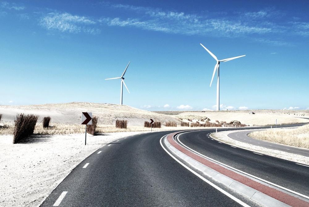 风, 路, 风车, 涡轮, 电力, 电力, 能源, 沥青