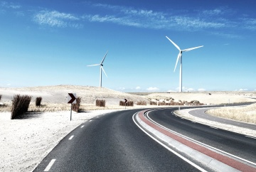 wind, road, windmill, turbine, electricity, power, energy, asphalt