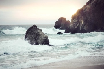 water, ocean, sea, seashore, beach, sunset, coast