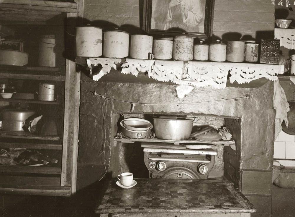 kuhinja, police, namještaj, štednjak, doma, kuhinjske, retro, star, starinski