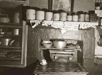 kitchen, shelf, furniture, stove, home, cookware, retro, old, antique