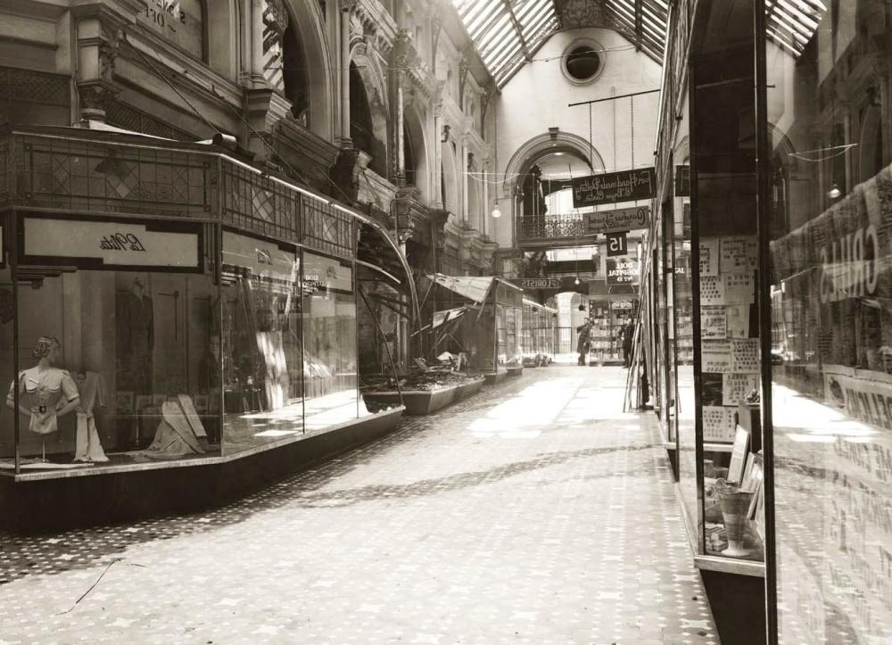 Histoire, centre-ville, rue, gens, monochrome, vieux, rétro