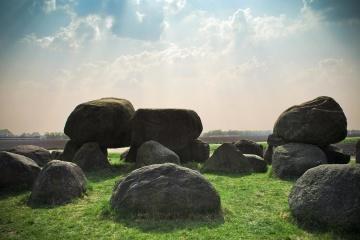 landscape, megalith, stone, sky, cloud, grass, sunshine