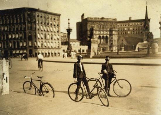bicycle, people, vehicle, street, road, asphalt, city, history