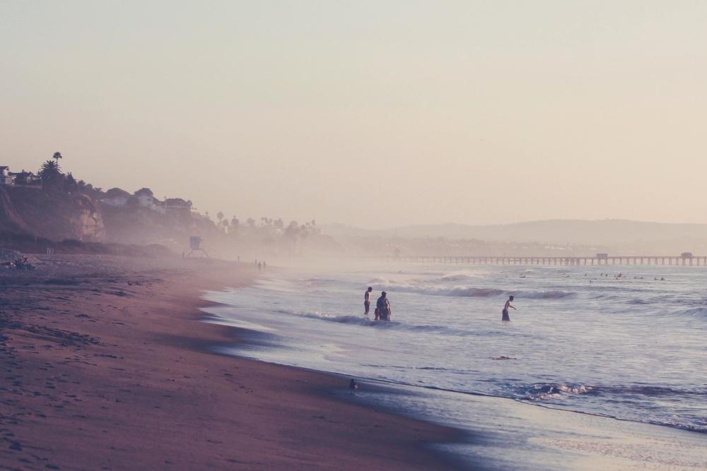 beach, water, sea, landscape, fog, ocean, sunset, seashore, dawn