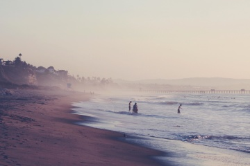 beach, water, sea, landscape, fog, ocean, sunset, seashore, dawn