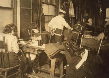 folk, historie, fabrikken, håndlaget, jobber, monokrom, rom, kvinne, mann, mployee