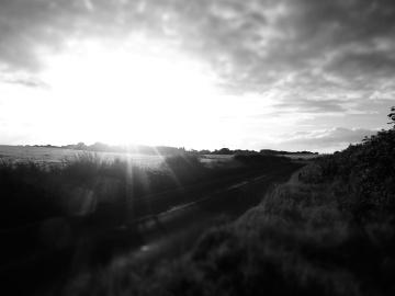 monochrome, landscape, cloud, sunset, sky, light