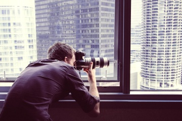 photographer, man, photo camera, portrait, city, technology, window